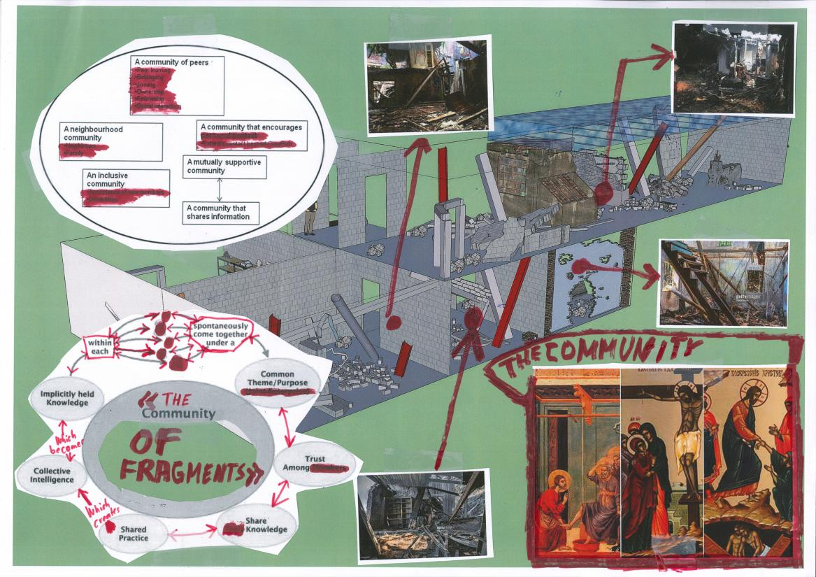 "Thomas Hirschhorn. Skitse til ""Community of fragments"", 2020"